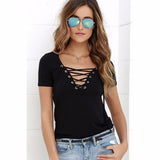 Women's European Fashion Lace Up T Shirt