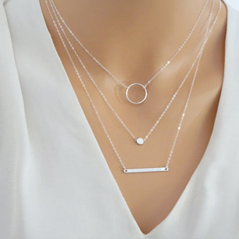 Women's Silver Layered Set Bar Jewelry Charm Necklace