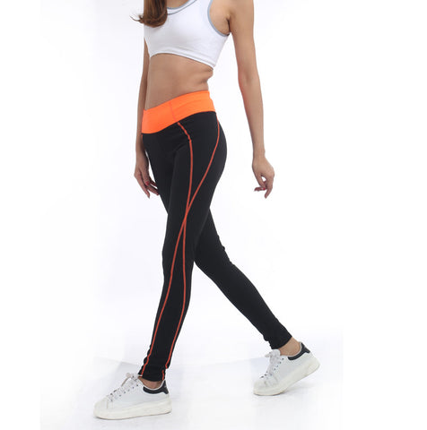Ladies High Waist Activewear Legging active Black Orange