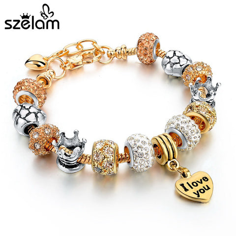 Jewelry Gold Heart Charm Bracelets & Bangles For Women