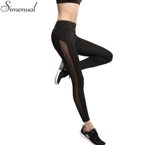 Women Mesh Splice Fitness Slim Black Leggings Sportswear Clothing