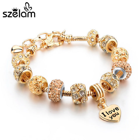 Heart Charm Gold Plated Bracelets & Bangles Fashion Jewelry