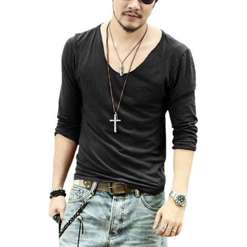 Men's Casual V-Neck Shirt Long Sleeve Fashion Cotton Shirt High Quality