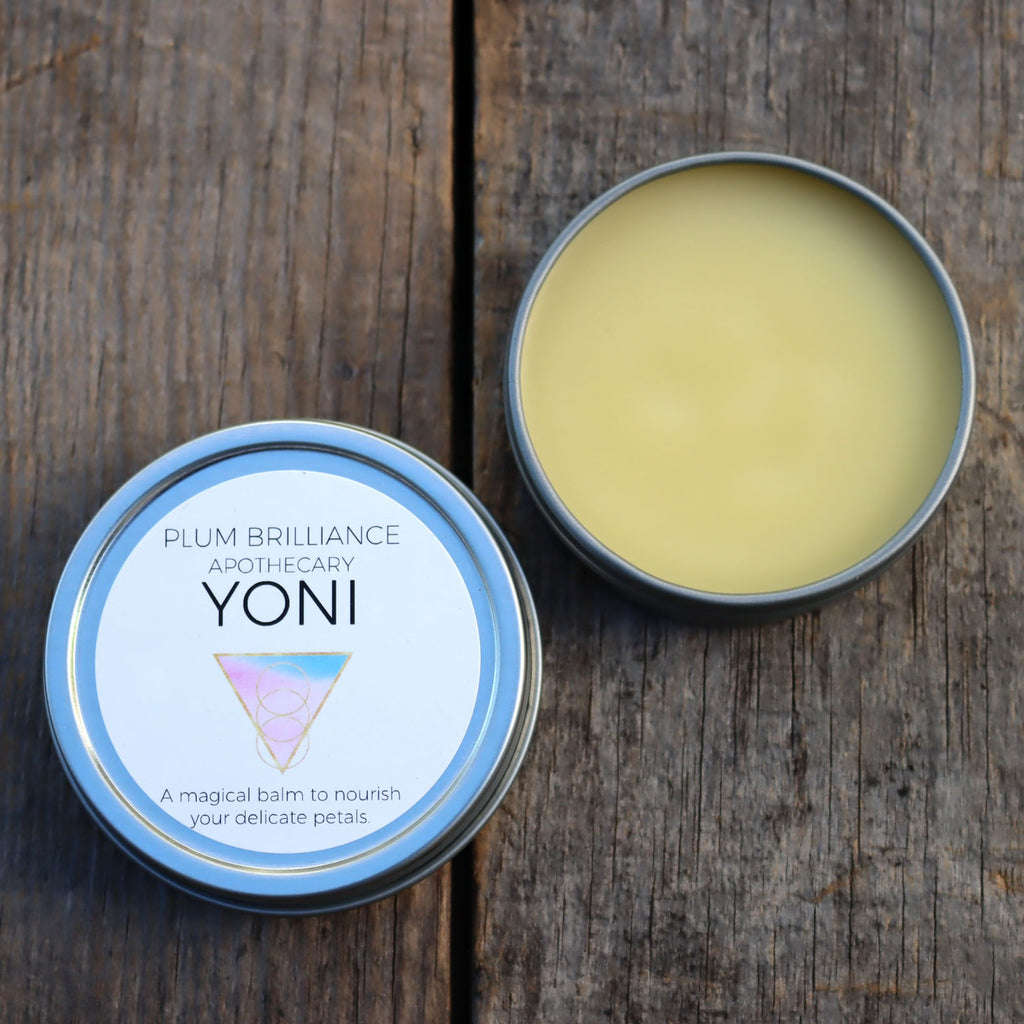 yoni natural cocoa butter and calendula balm by Plum Brilliance