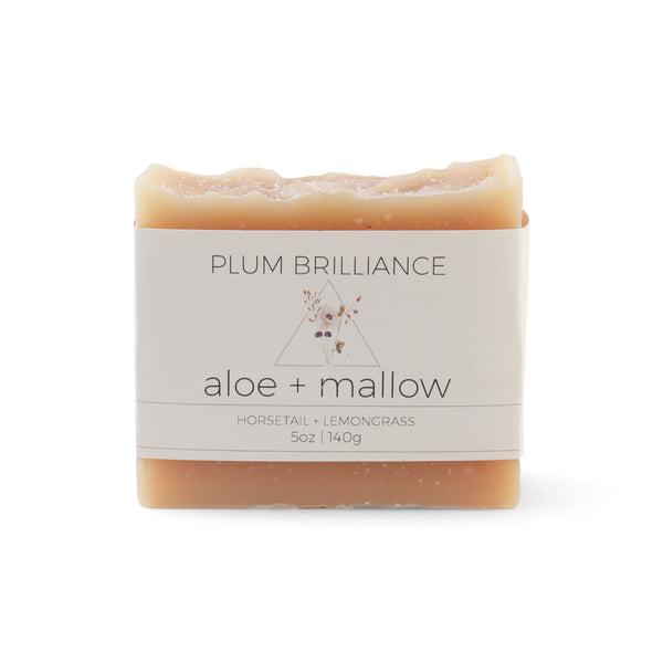Aloe vera and marshmallow natural soap bar by Plum Brilliance apothecary