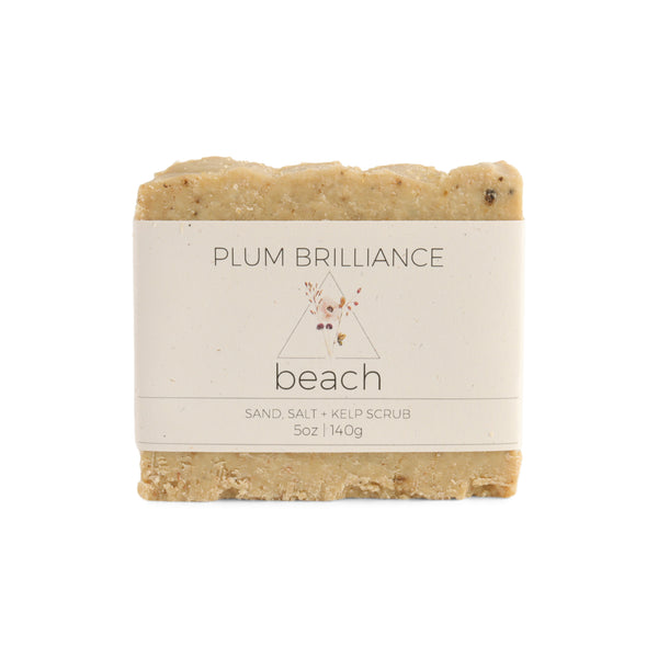natural beach soap bar with sand pink salt and kelp.  Exfoliating and organic handcrafted