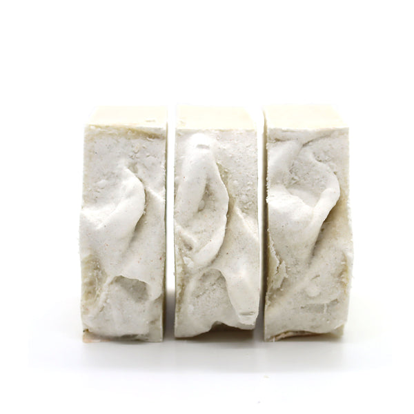sand and salt beach bar soap with small seashells