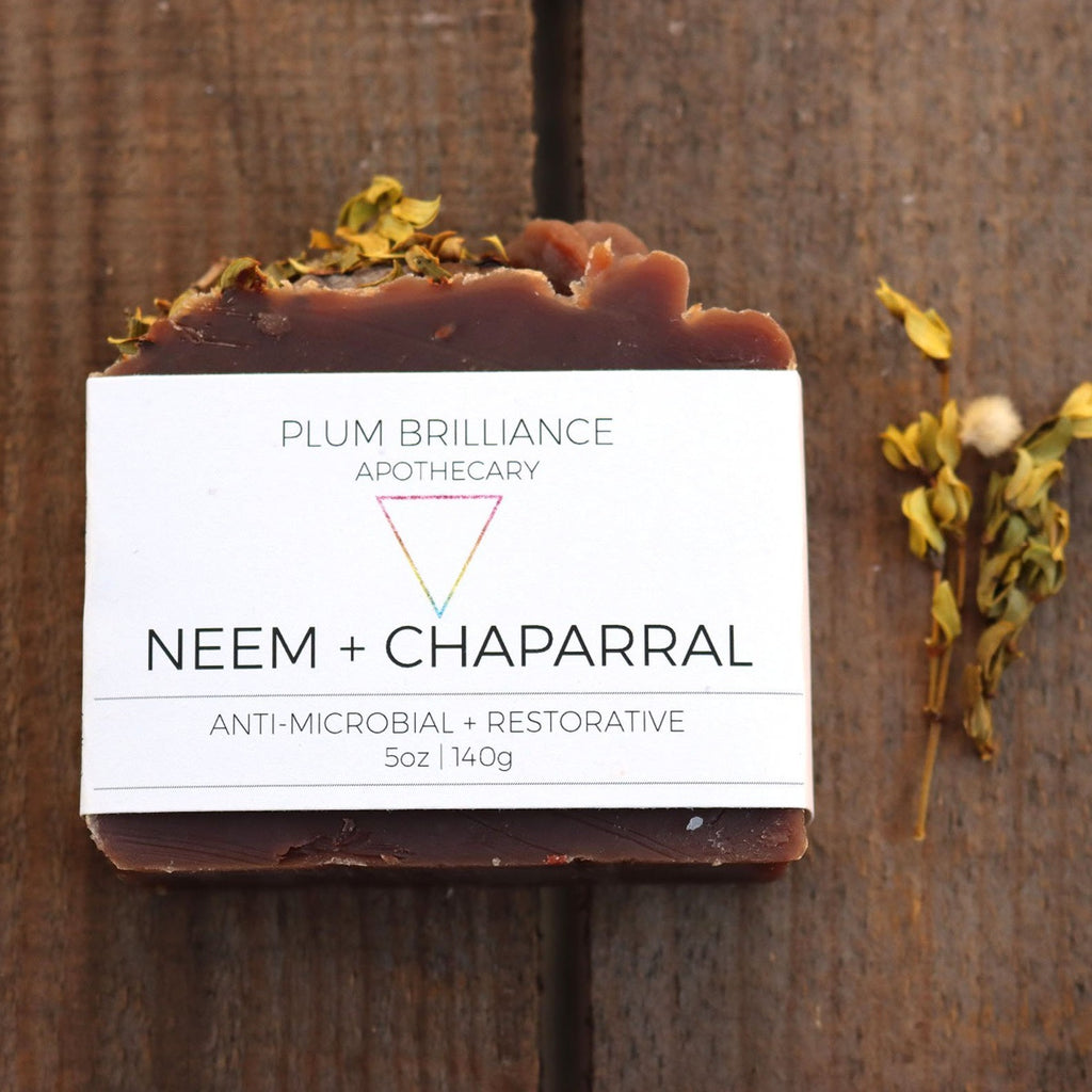plum brilliance wildcrafted neem and chaparral natural herbal soap bar