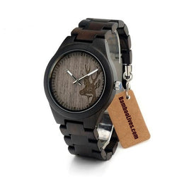 Unique Ebony Wooden Watch Deer Head Dial - Urban Bamboo