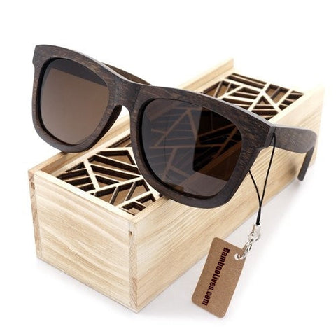 Ebony Fashion Polarized Wooden Sunglasses - Urban Bamboo