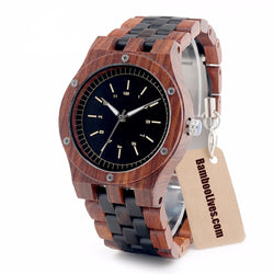 EBONY AND RED SANDALWOOD WOOD WATCH - Urban Bamboo