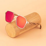 Wooden Hexagonical Sunglasses - Urban Bamboo