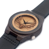 Deer Dark Wood Watch with Leather Strap - Urban Bamboo