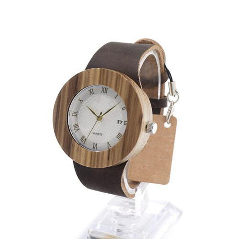 Vintage Leather and Wooden Watch - Urban Bamboo