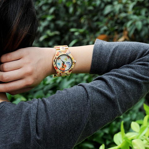 Women's Painted Butterfly Wooden Watches - Urban Bamboo