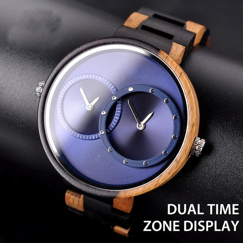 Men's Two-Time Zone Display Wooden Watch - Urban Bamboo