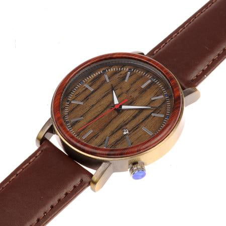 Men's Wooden Leather Watch - Urban Bamboo