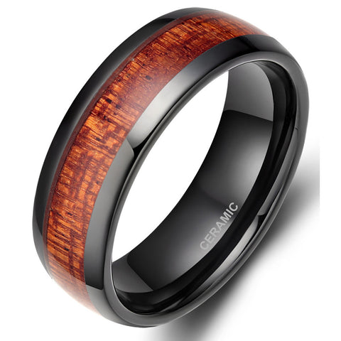 Red Wood Ceramic Ring Welcome to Urban Bamboo