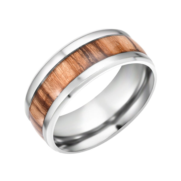 Wood Grain Stainless Ring - Urban Bamboo