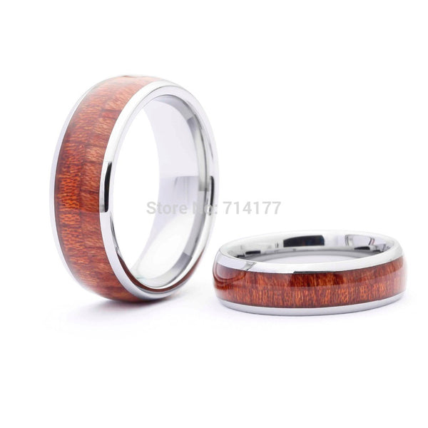 Tungsten Hawaiian Koa Wood Ring - Urban Bamboo