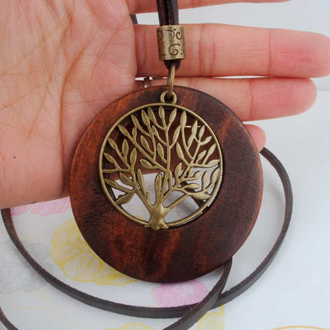Vintage Alloy Life Tree Wooden Pendant Necklace - Urban Bamboo