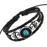 Zodiac Sign Bracelet, Metal Charm and Black Genuine Braided Leather - Urban Bamboo