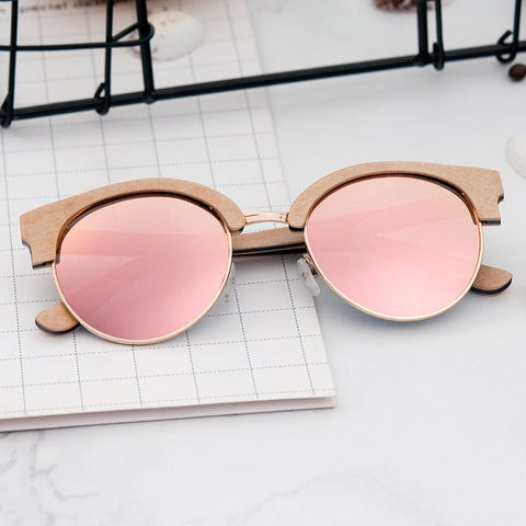 Retro Polarized Sunglasses | Pink and Gold Lens - Urban Bamboo