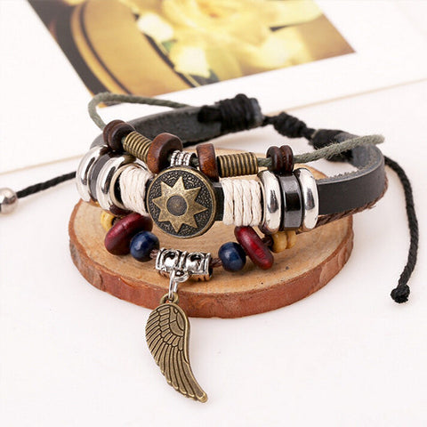 Leather Wooden Bracelet - Urban Bamboo