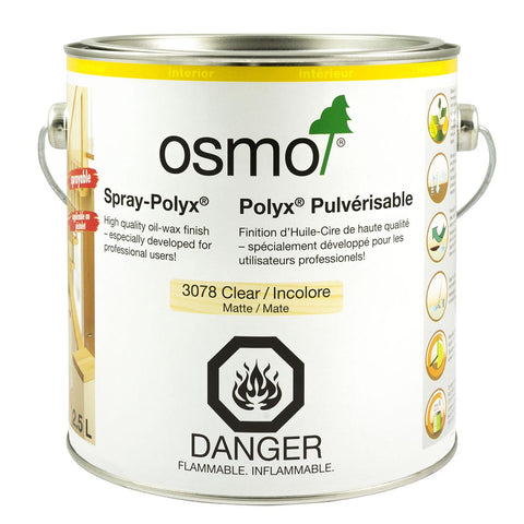 OS3078, OSMO Spray-Polyx 3078 Clear Satin, 2.5 L