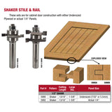 Whiteside, Shaker Stile & Rail Router Bits, Set/2