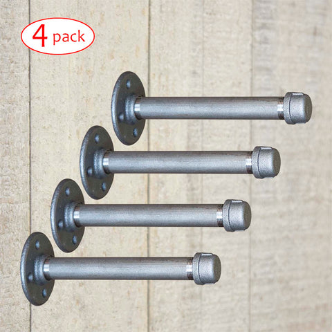 BBI, Shelf Bracket Pipe KIT, I-shape, 4 Pack, 3 Sizes - RustyDesign