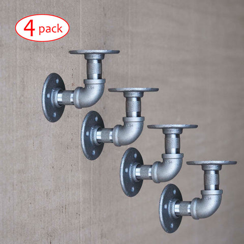 BBL, Shelf Brackets Pipe KIT, L-Shape, 4 Pack, 4 Sizes - RustyDesign