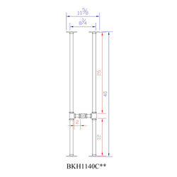 "H40"" - BKH1140C Pipe Legs KIT for Narrow Bar Table H shape, 11"" x H40"" Pack of 2 with Cross Bar - RustyDesign"