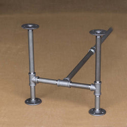 "H16"" - BKH1716C Pipe Legs KIT for Coffee Table, H shape 17"" x H16"" Pack of 2 with Cross Bar - RustyDesign"