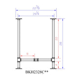"H28"" - BKH2328C Pipe Legs KIT with Cross Bar for Desk Table, H-shape, L x W23"" x H28"", Pack Suitable for 1 Table, base frame - RustyDesign"
