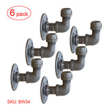 BW34 Industrial Pipe Wall Hook Hangers, 3/4 Inch Pipe, Pack 6 - RustyDesign