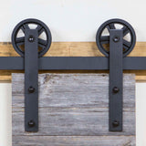 Hangers ONLY, HK14H Straight Hangers for Sliding Barn Door, Big Industrial Wheel - RustyDesign