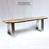 SS100E2 Stainless Steel Bench U Legs (narrow coffee table), 1 Pair - RustyDesign