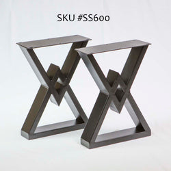 SS600 Diamond Bench Legs, Black Powder Coated, 1 Pair