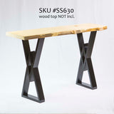 SS630 Diamond Console Table Legs, Black Powder Coated, 1 Pair