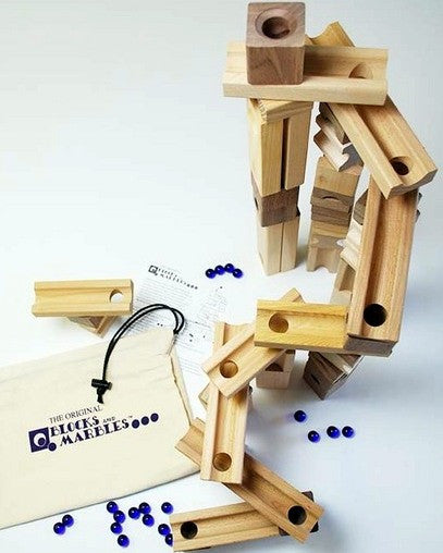 Wood Blocks and Marbles Set - 45 pieces
