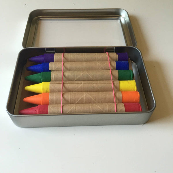 Set of 6 Eco-Friendly Crayons in Metal Tin