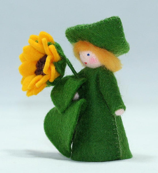 Sunflower Cap Fairy Felted Waldorf Doll