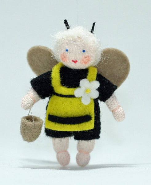 Bee Baby Girl Felted Waldorf Doll
