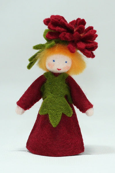 Burgundy Chrysanthemum Fairy Felted Waldorf Doll