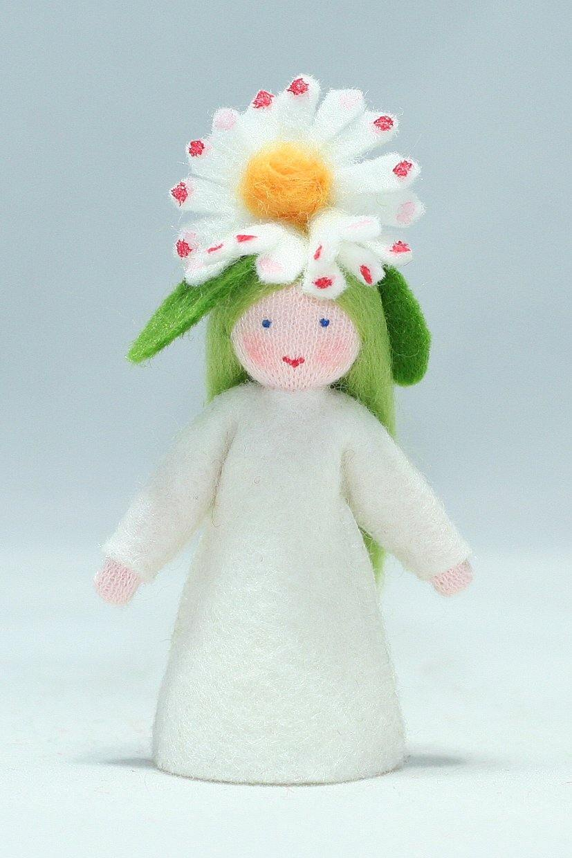 Common Daisy Fairy Felted Waldorf Doll - Three Skin Colors