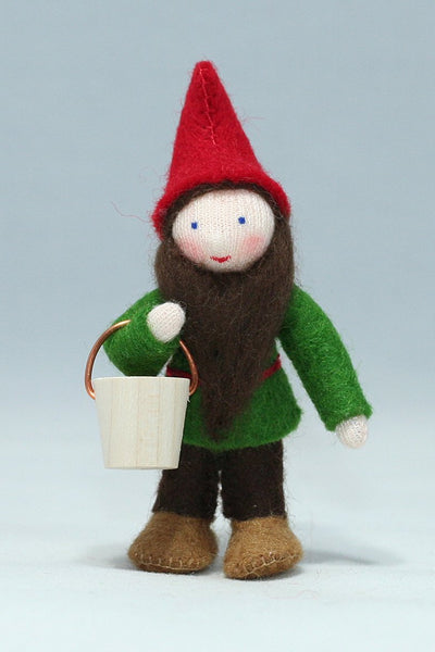 Garden Gnome with Bucket Felted Waldorf Doll