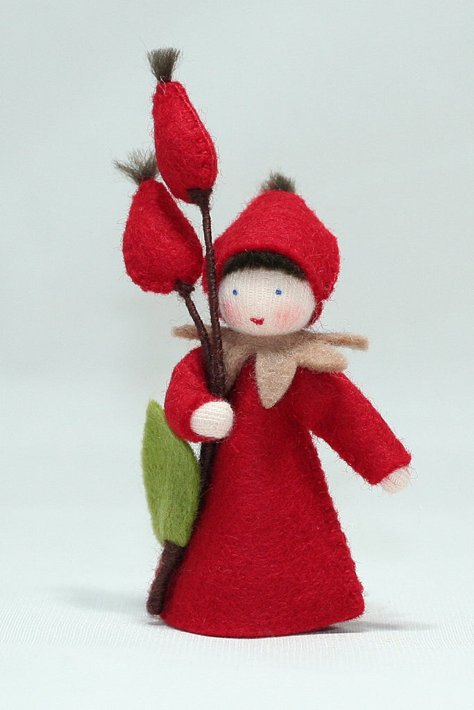 Red Rose Hips Felted Waldorf Doll