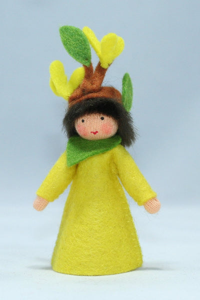 Forsythia Fairy Felted Waldorf Doll