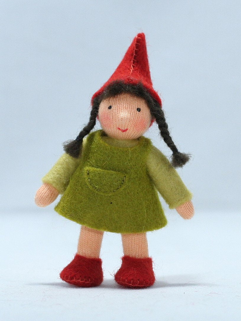 Hedge Gnome Girl Felted Waldorf Doll